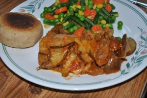 Hungarian Brat Potato Dish with Mixed Vegetables and an English Muffin