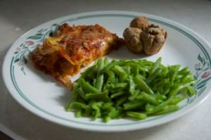 Plate of Lasagna, Green Beans and Roll